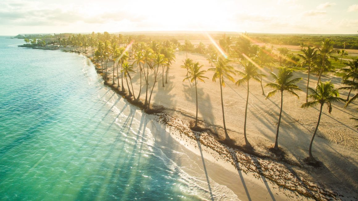 Aerial view of tropical beach in the sunny afternoon.