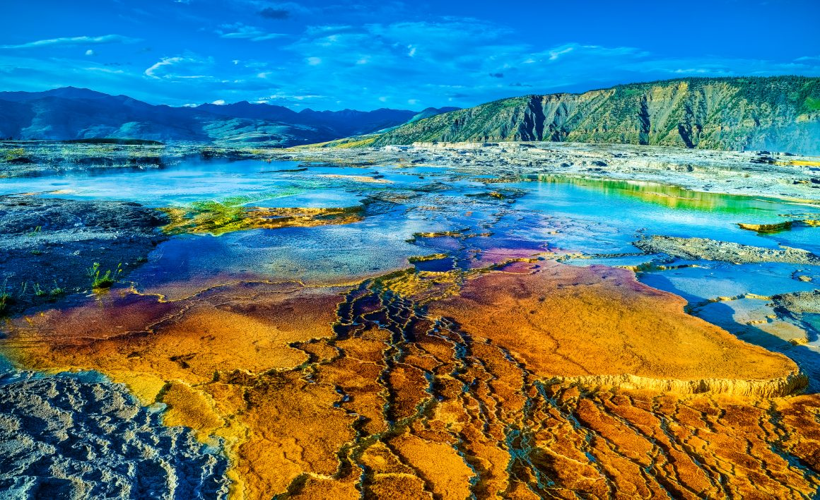 Fissures in the rich orange, bright blue, golden yellow, and indigo geothermal landscape of Mammoth Hot Springs at Yellowstone National Park.