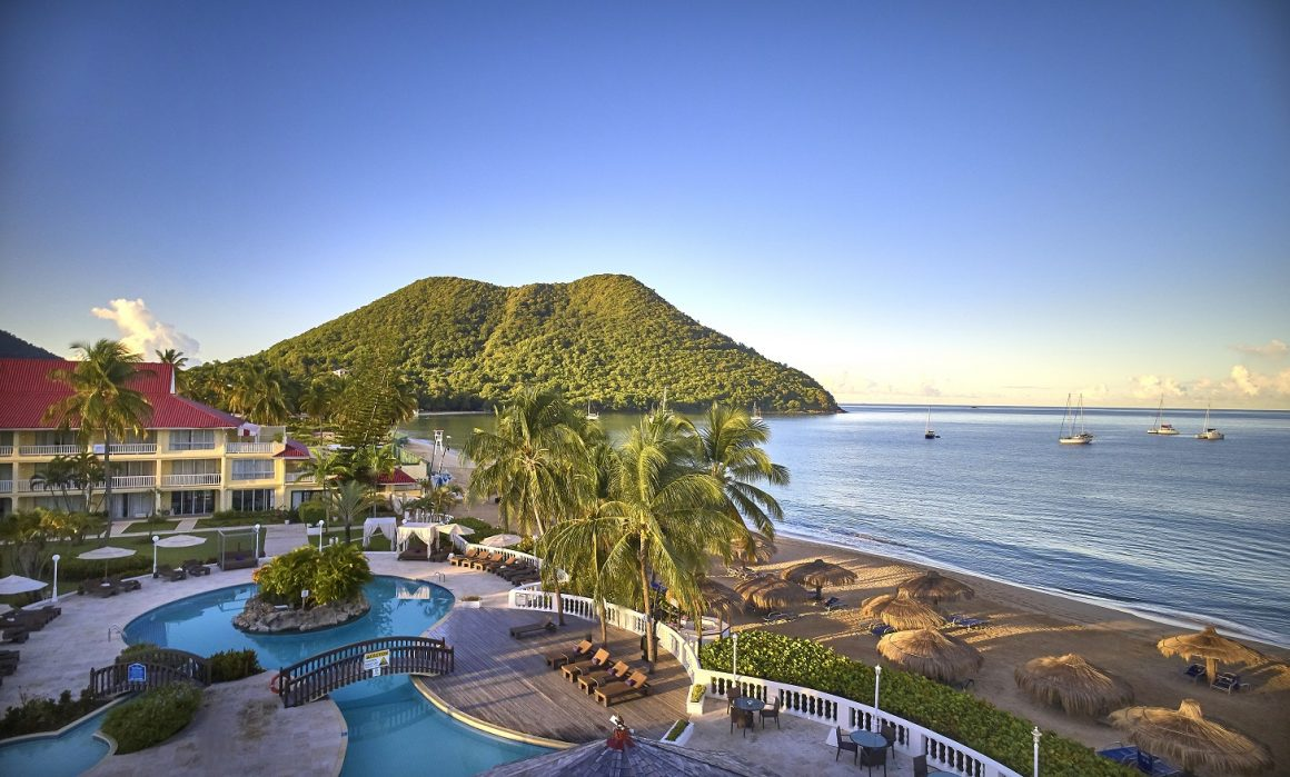 An aerial view of the grounds of Mystique St. Lucia.