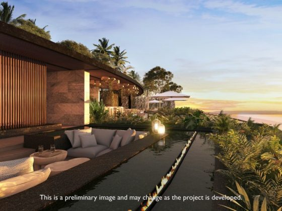 Rendering of sunset at the Preferred Club Beach Club rooftop deck at Dreams Bahia Mita