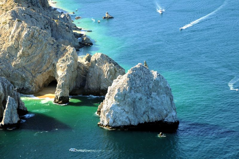 Aerial view of the granite rock formations of Cabo San Lucas.
