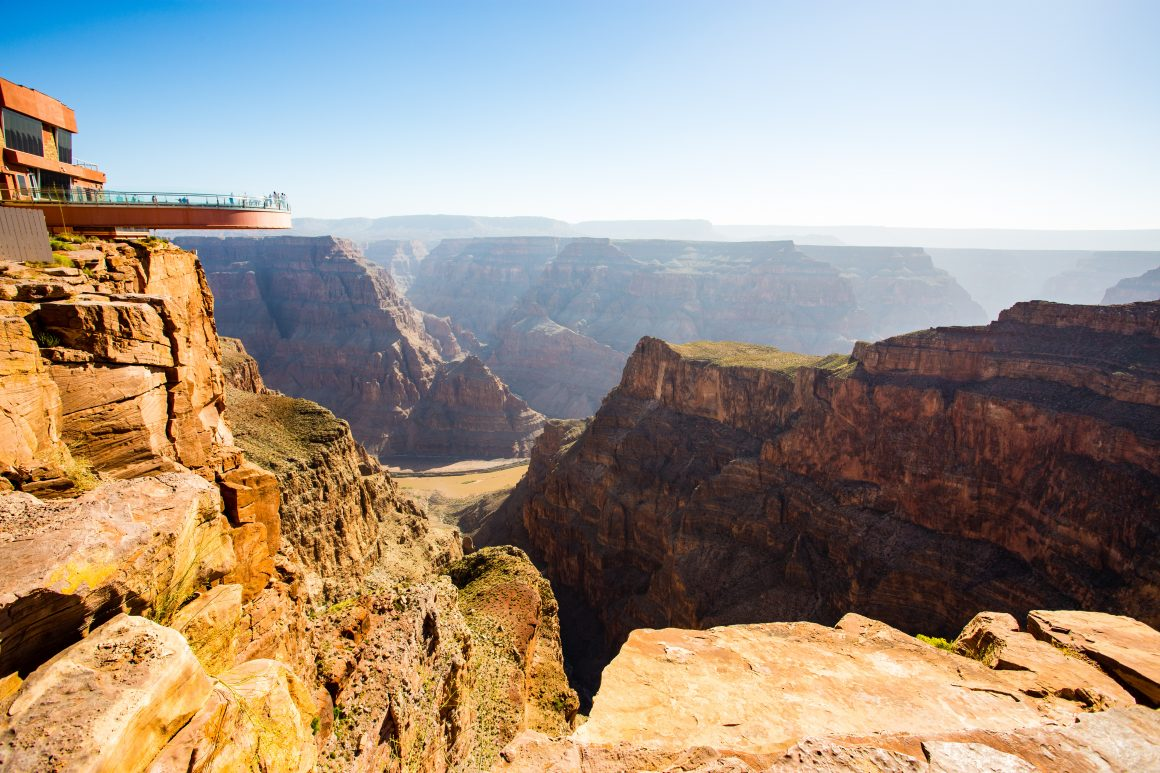 The Skywalk observatory extends out over a cliffside at the Grand Canyon.